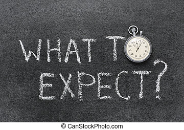 what to expect question handwritten on chalkboard with vintage precise stopwatch used instead of O