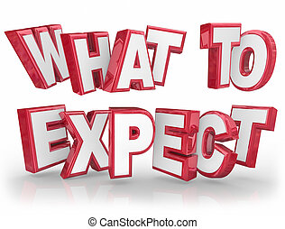 What to Expect 3d words to explain something that is unknown or uncertain and provide guidance, information or communication for clarity and assistance
