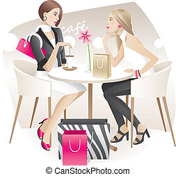 What women talking about - Two young women with shopping ...