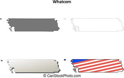 Whatcom County, Washington outline map set