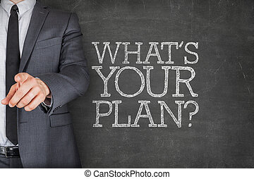 whats, δικό σου , σχέδιο , επάνω , μαυροπίνακας , με , επιχειρηματίας