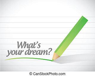 whats, boodschap, droom, jouw, illustratie