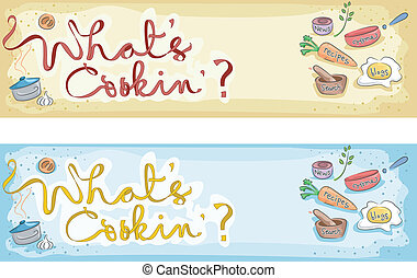 Whats Cooking - Illustration of a Cooking Banner