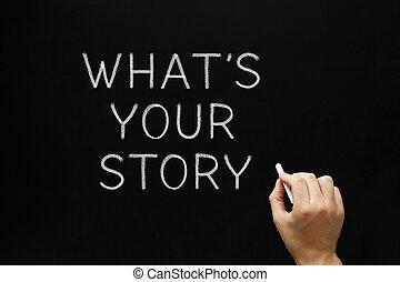 whats, din, berättelse, blackboard