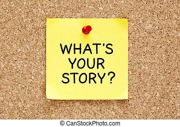 whats, din, berättelse, klistrig anteckning