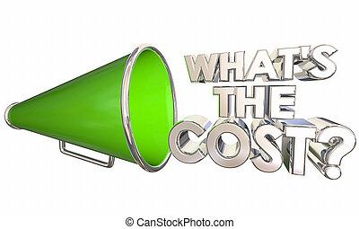 whats, frage, abbildung, kosten, megafon, wörter, megaphon, 3d