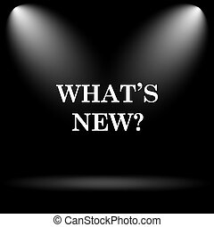 Whats new icon. Internet button on black background.