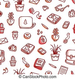 What's on my table brown colorful seamless pattern