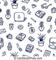 What's on my table deep blue ink seamless pattern