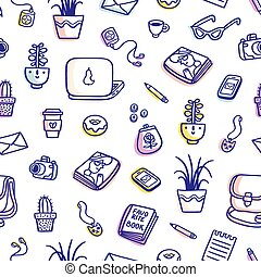What's on my table purple colorful seamless pattern