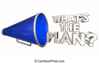 Whats the Plan Bullhorn Megaphone Words Question 3d Illustration