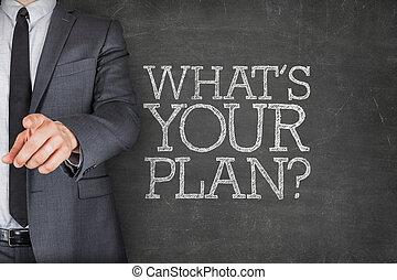 whats, ton, plan, sur, tableau noir, à, homme affaires
