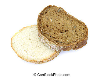 Wheat and rye bread slices