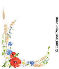 an illustration of an arrangement of summer wildflowers with wheat poppies harebells and daisies on white