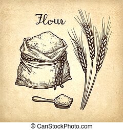 Wheat, bag of flour and wooden scoop.
