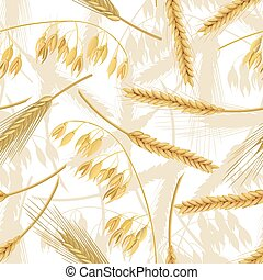 Wheat, barley, oat and rye seamless pattern. Four cereals spikelets with ears. isolated. 3d icon vector. For design, cooking,