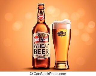 Wheat beer package design, glass bottle and cup with...