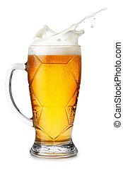 wheat beer with splashing foam