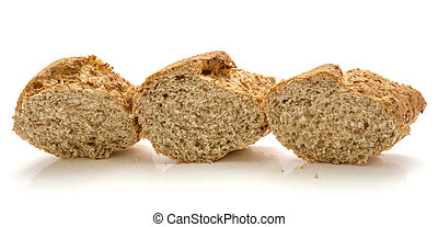 Wheat bran bread isolated on white