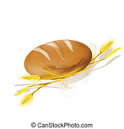 wheat., bread, illustration., vettore