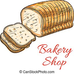 Wheat bread sketch for bakery shop design