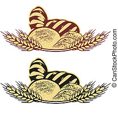 Wheat bread vector illustration in two colors
