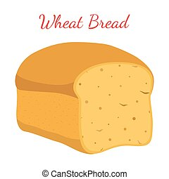 Wheat bread, whole grain loaf, bakery, pastry. Cartoon style. Vector