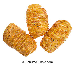Wheat buns isolated on white background