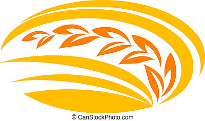 Wheat cereal symbol with yellow and orange ears, suitable ...