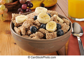 Wheat cereal with blueberries and banana