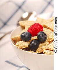 Wheat cereal with blueberries and raspberry