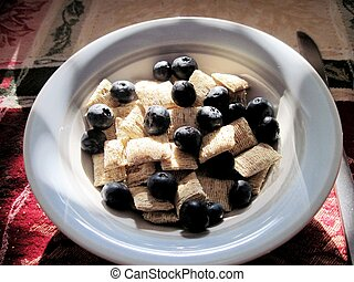 Wheat cereal with blueberries