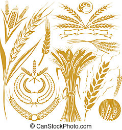 Clip art collection of wheat icons and symbols