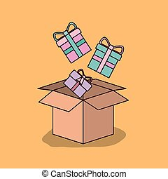 wheat color background with cardboard box and gift boxes
