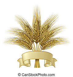 Wheat design with a blank ribbon banner as a group of growing natural grass plants for farming and harvesting as a healthy high fibre yellow golden grain crop for a bakery and baked goods.