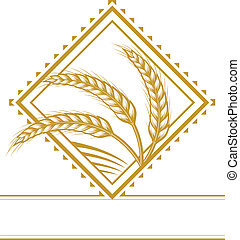 Wheat Diamond - Icon with three stalks of wheat and a field