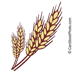 Wheat ear isolated on white. Simple shapes vector illustration