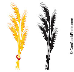 Wheat ear vector illustration. Yellow and black silhouette