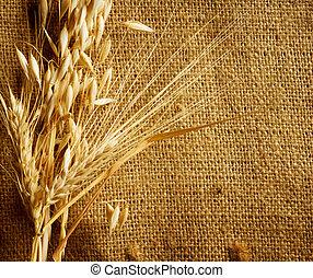Wheat Ears border on Burlap background