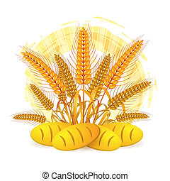 Wheat ears with bread
