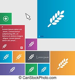 Wheat Ears Icon sign. buttons. Modern interface website buttons with cursor pointer. Vector