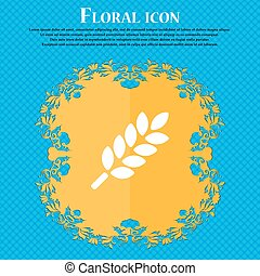 Wheat Ears Icon sign. Floral flat design on a blue abstract background with place for your text. Vector