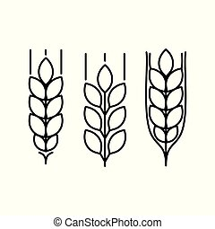 wheat ears icons set on white background