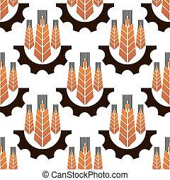 Wheat ears in gear wheels seamless pattern
