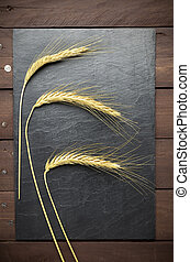 Wheat ears on slate