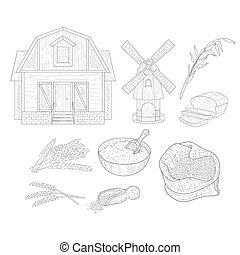 Wheat Farm Isolated Hand Drawn Realistic Sketches
