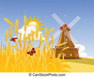 Wheat field and mill - Wheat field