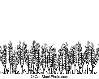 Wheat field, background. Sketch scratch board imitation color. Engraving vector illustration coloring