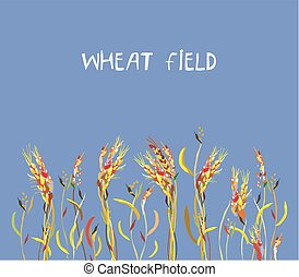 Wheat field banner at the autumn, vector graphic painting...