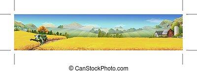Wheat field, rural landscape, vector background